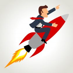 boost-your-business-man-on-rocket-punching-air