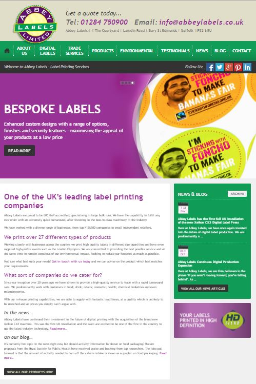 Abbey Labels new home page