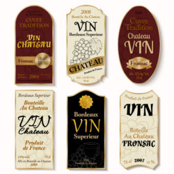 selection of different wine labels